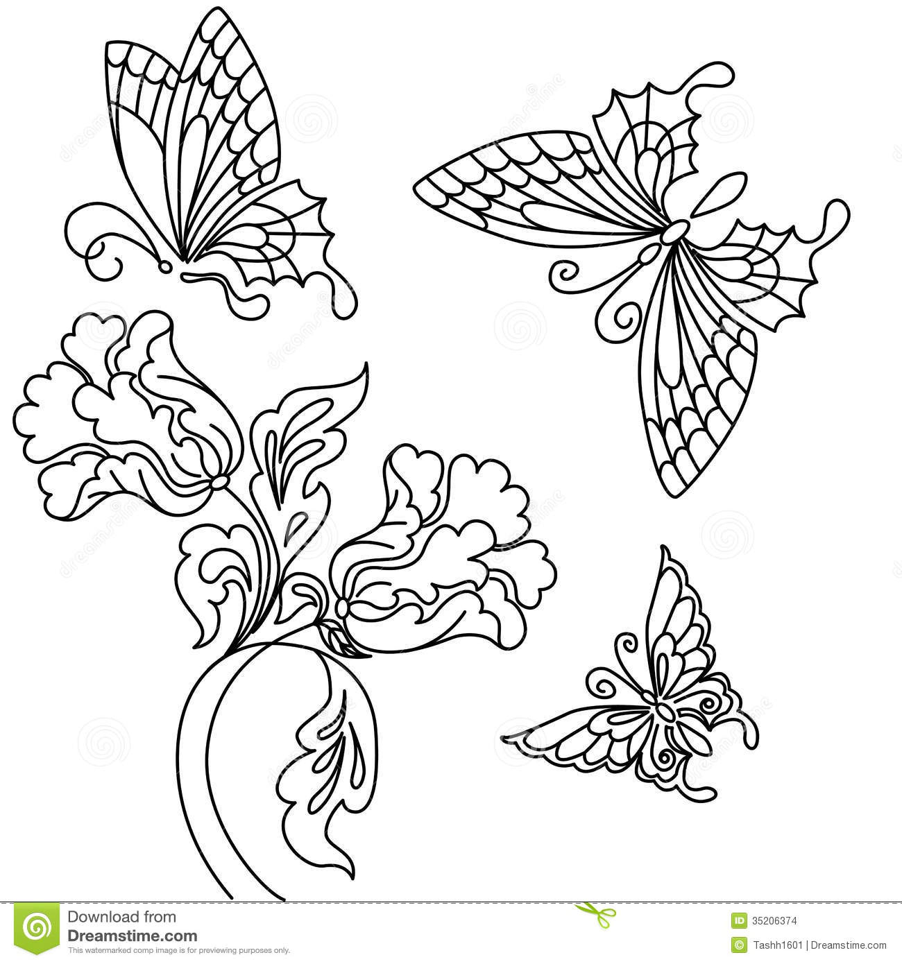 Flowers and butterfly stock illustration. Image of drawing ...