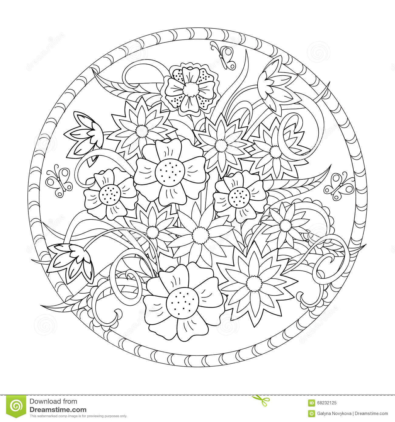 The Flowers And Butterfly In The Circle Stock Vector