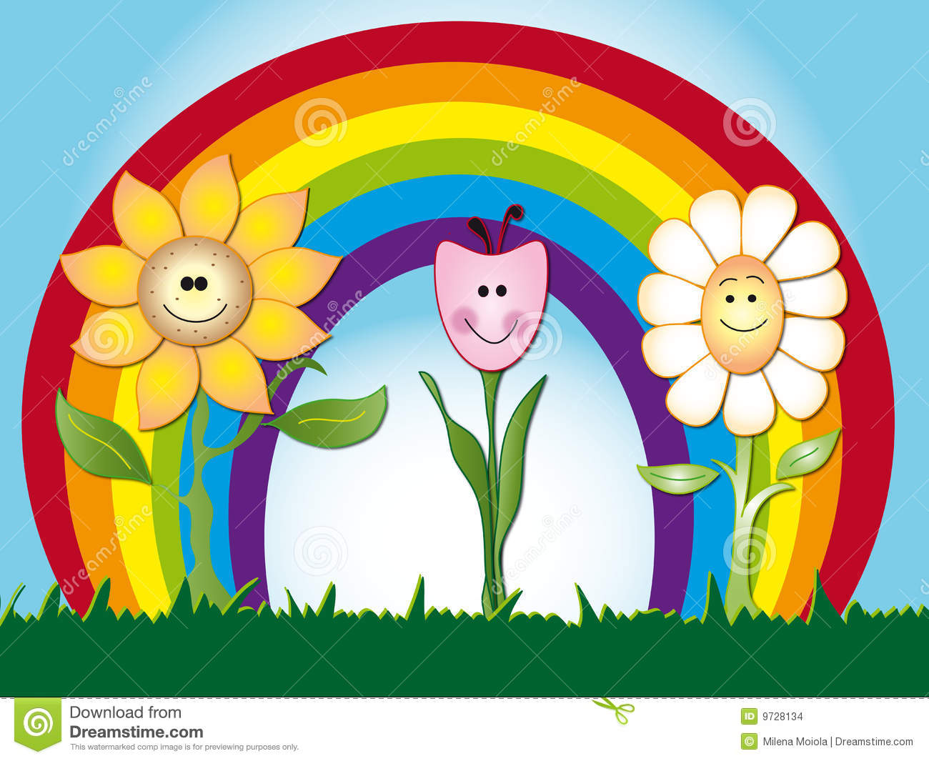 Flowers Cartoon Stock Illustration Image Of Background