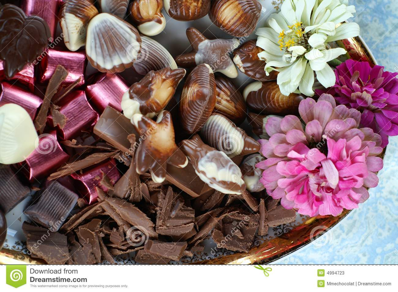 Flowers And Chocolate Stock s Image