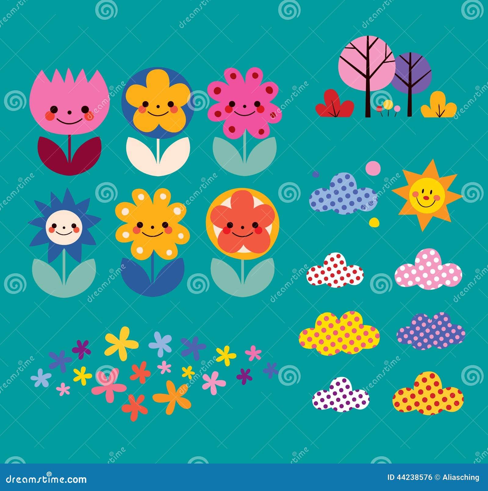 Flowers, clouds, nature design elements set
