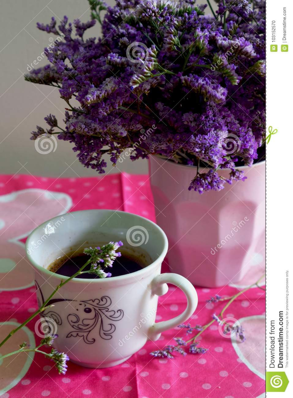 Flowers And Coffe For Good Morning Stock Photo Image Of Chic