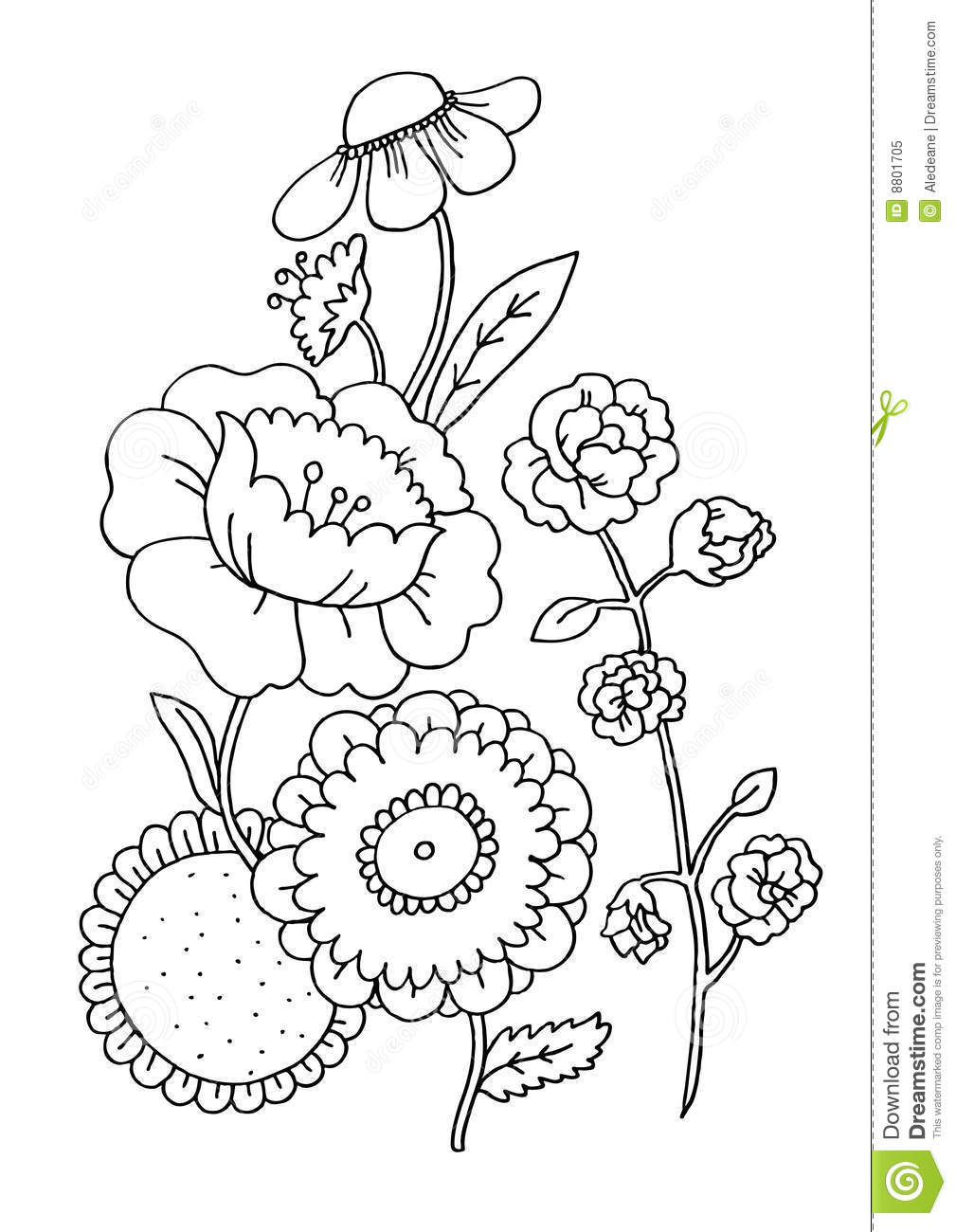 Flowers Coloring Page stock illustration. Illustration of education ...