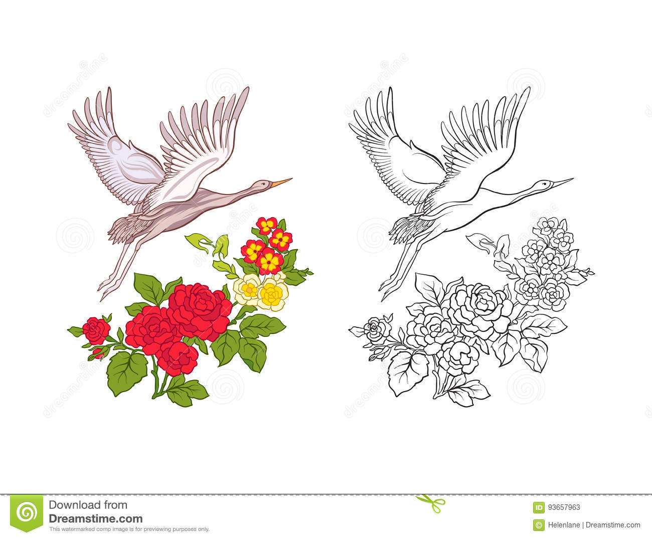 Set Of Colored Sample And Outline Drawing