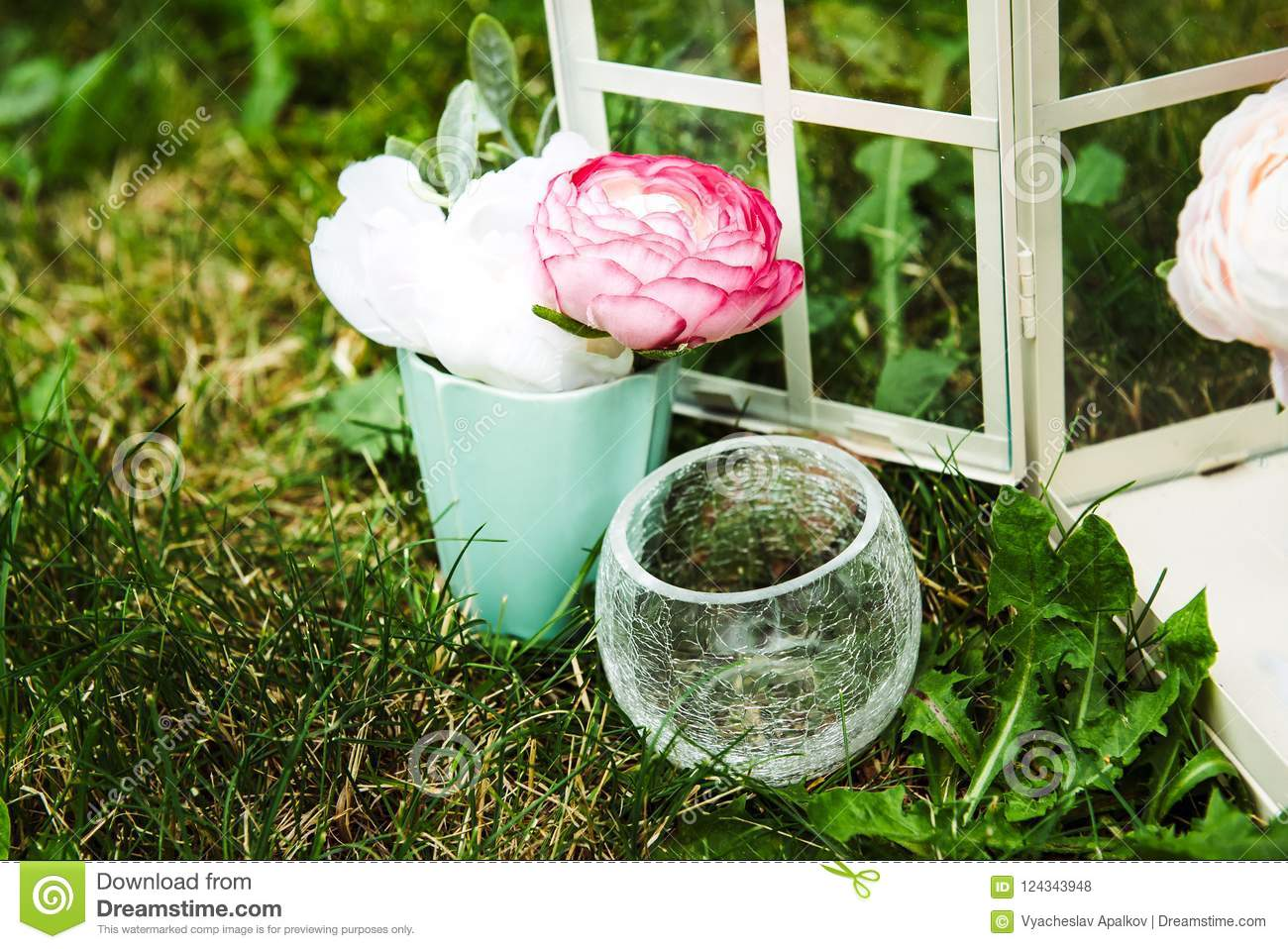 193 & Picture Of Flowers In Cute Small Vases Standing Stock Photo ...