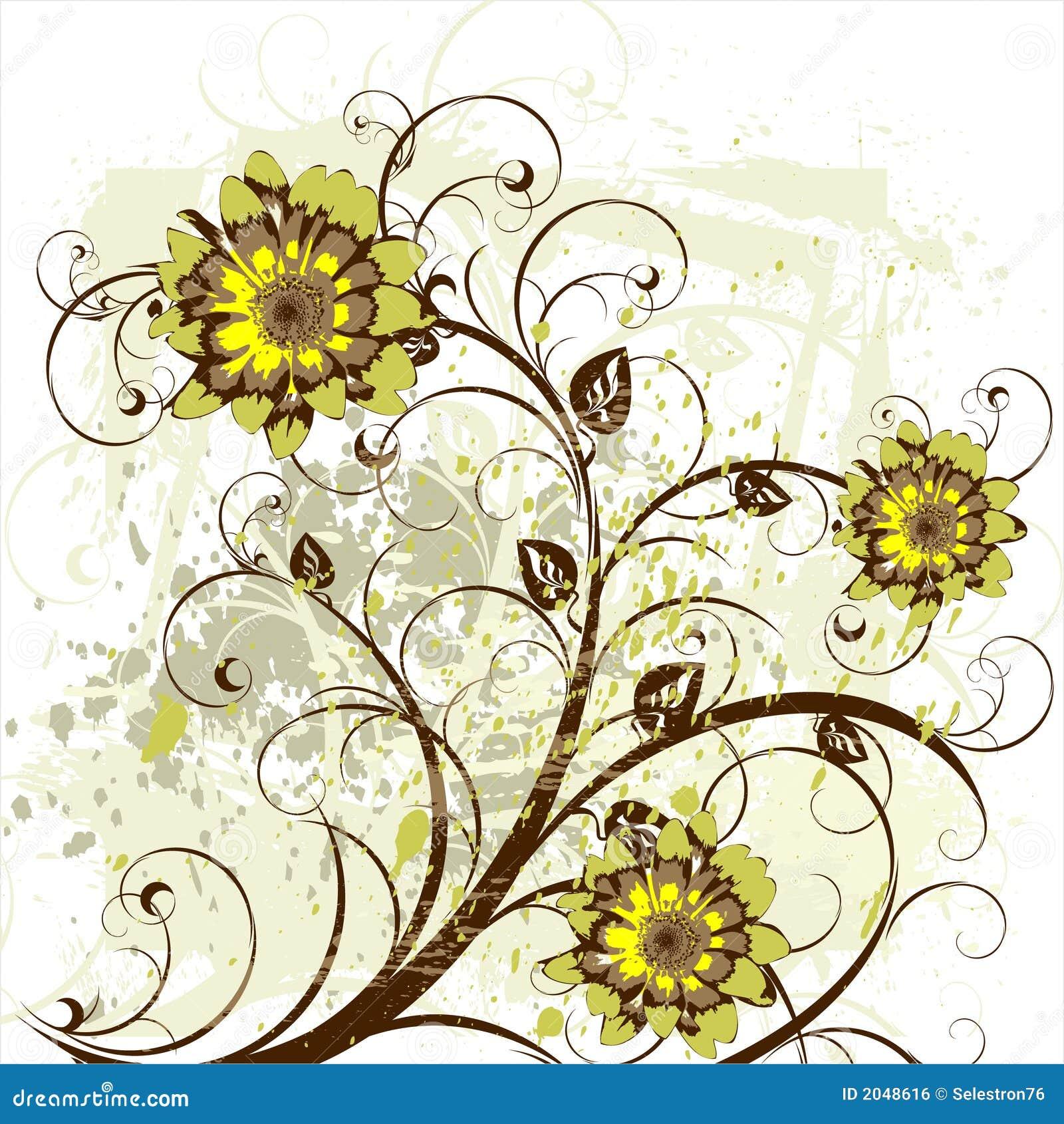 Flowers Decor On Grunge Background Stock Vector ...