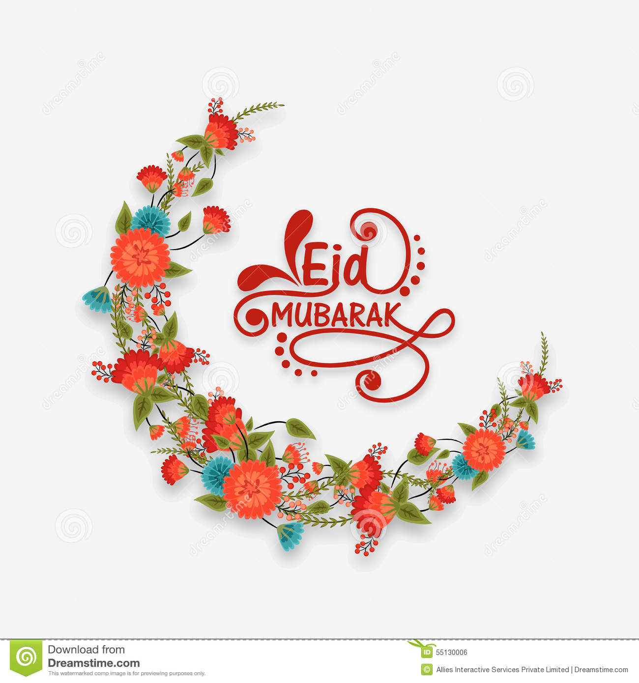 Flowers Decorated Moon For Eid Mubarak Celebration. Stock ...