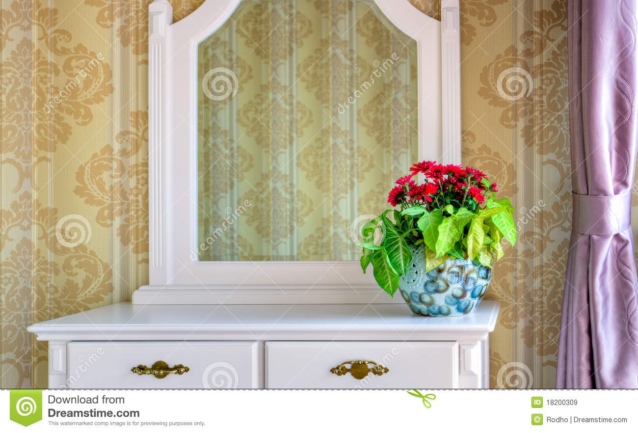 Flowers Decoration On A Dressing Table Stock Image - Image of floral ...