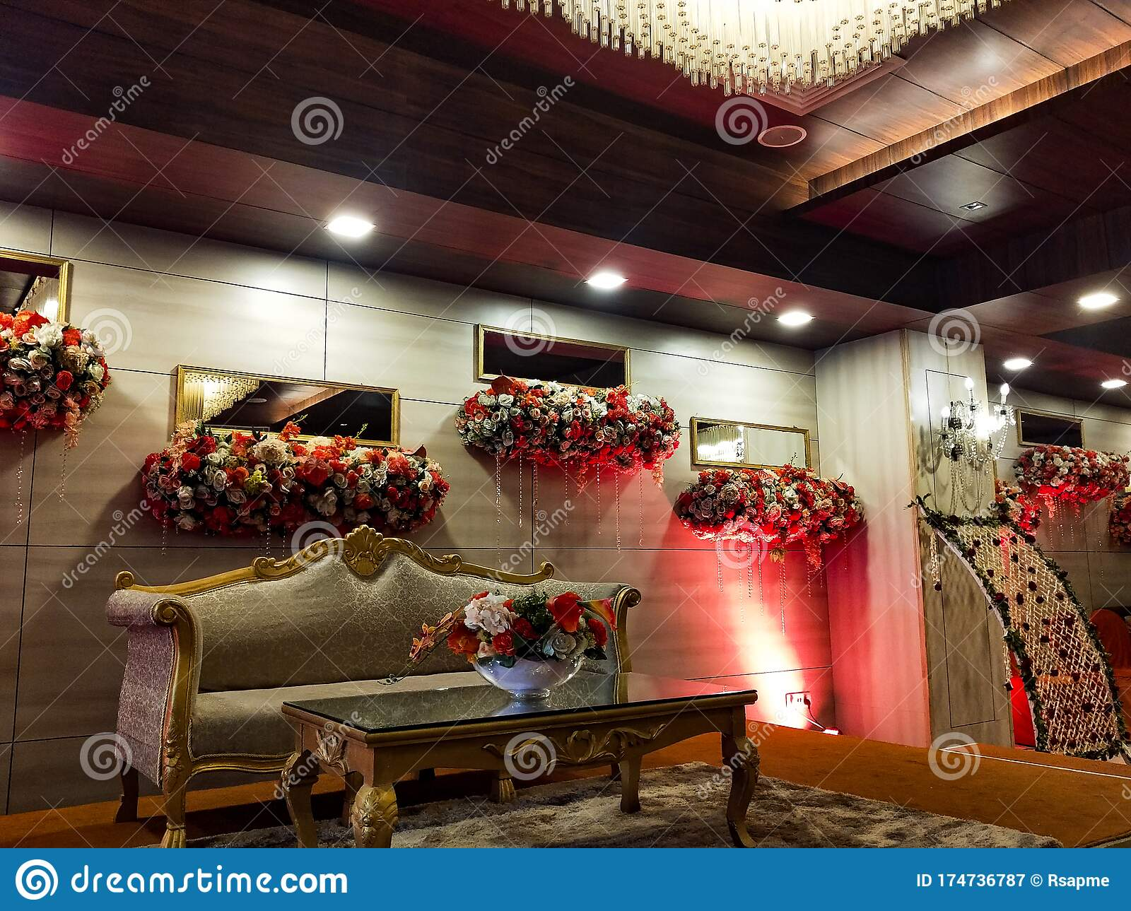 Flowers Decoration Inside Indian Wedding Banquet Hall During Evening Time In Delhi India Stock Image Image Of Time Evening 174736787