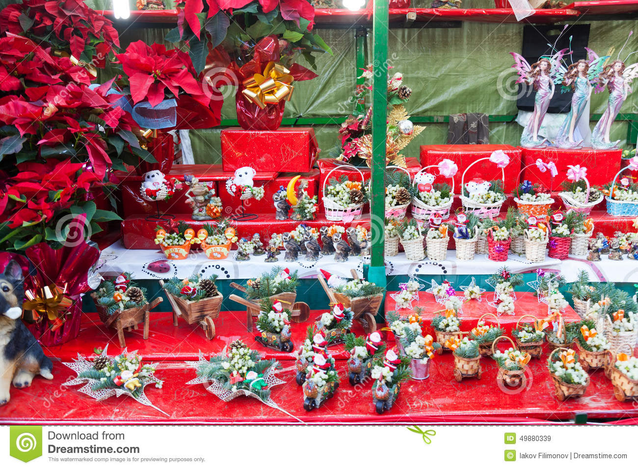 Flowers Decorations And Traditional Gifts At Christmas ...
