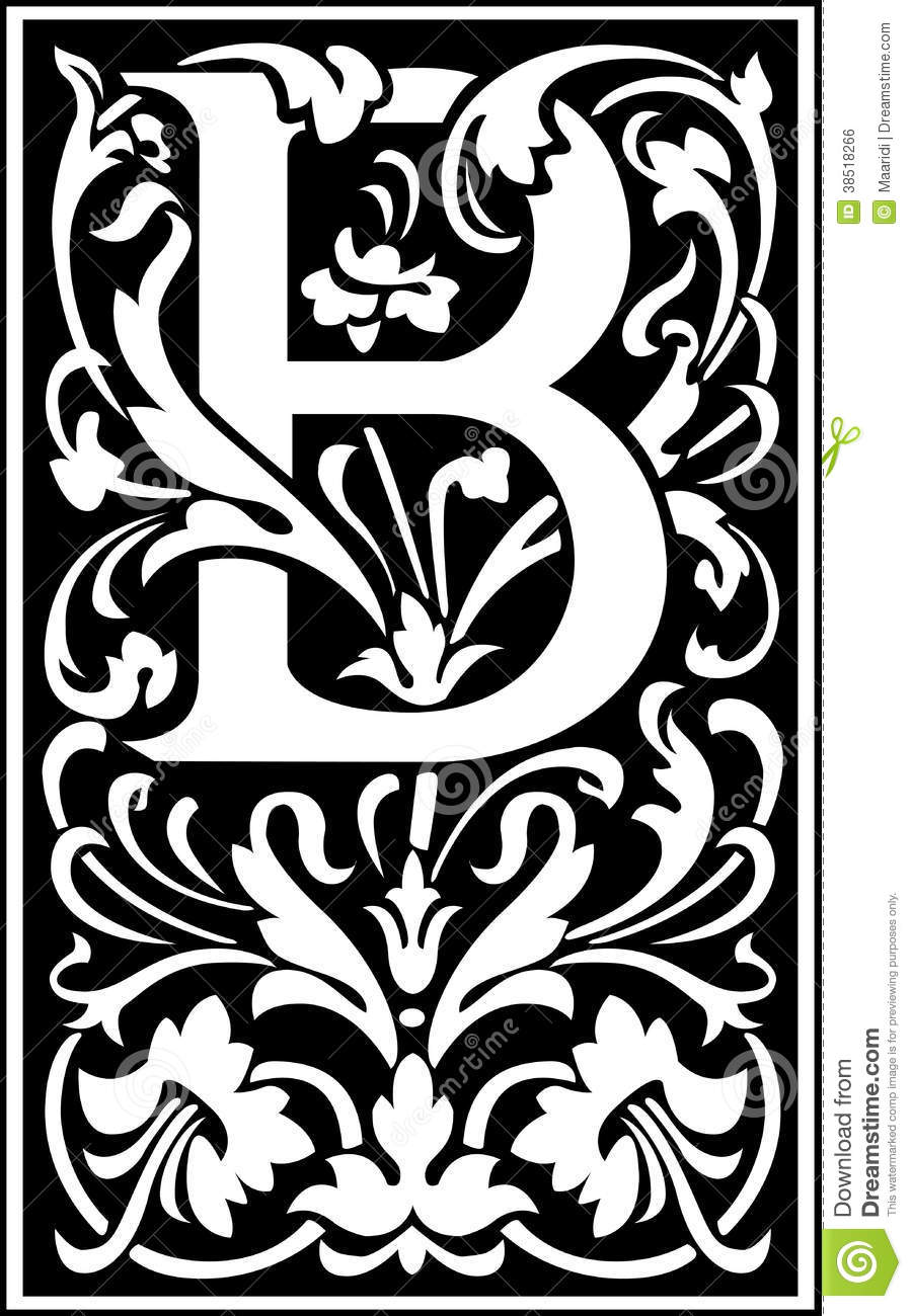 B Art: Flowers Decorative Letter B Balck And White Royalty Free