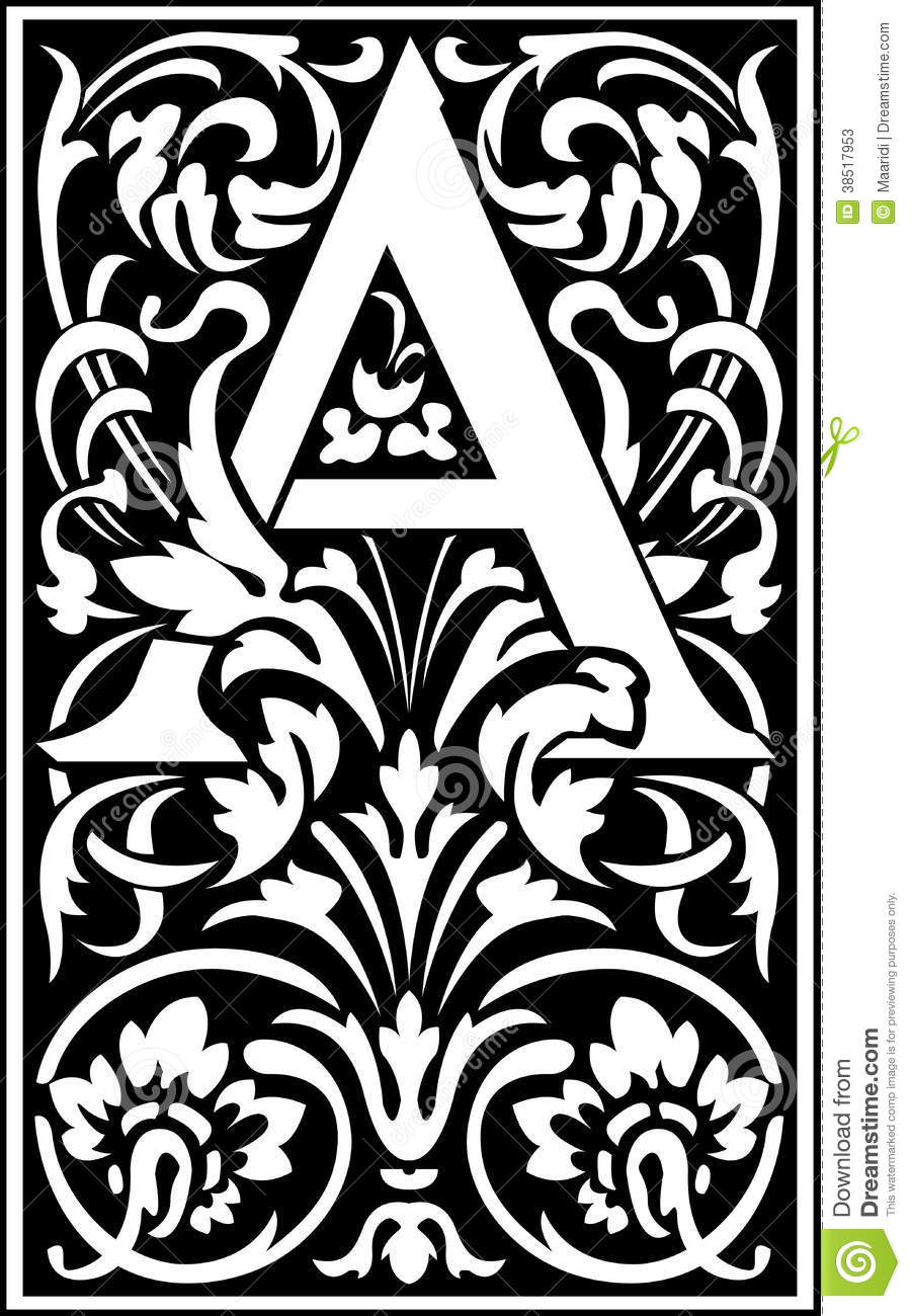 Flowers Decorative Letter A Balck And White Stock Vector