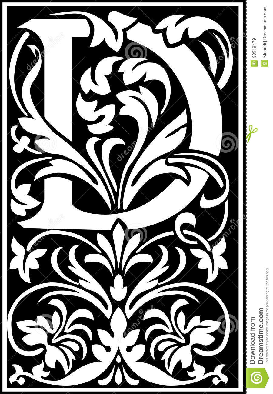 Flowers Decorative Letter D Balck And White Stock Vector