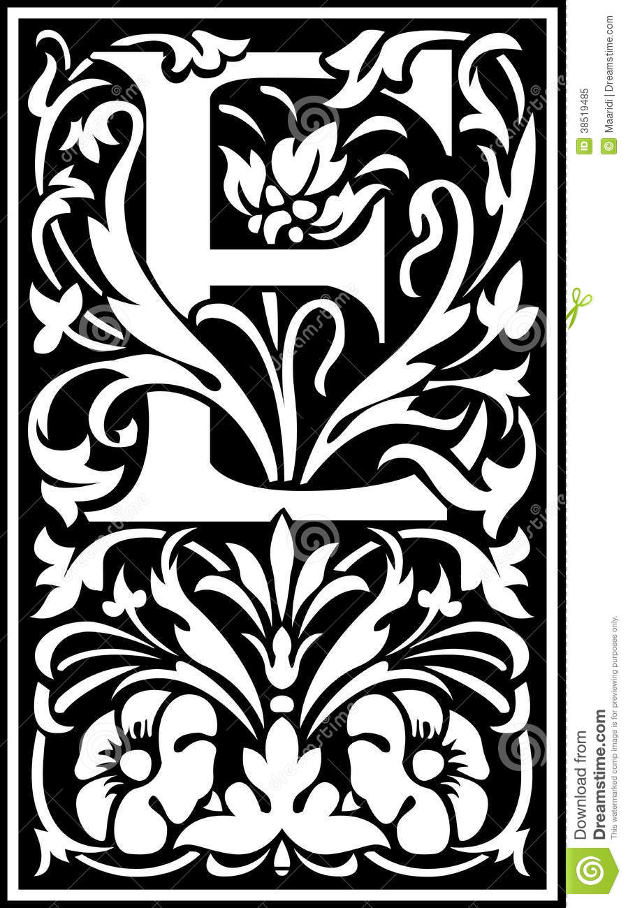 Flowers Decorative Letter E Balck And White Stock Vector