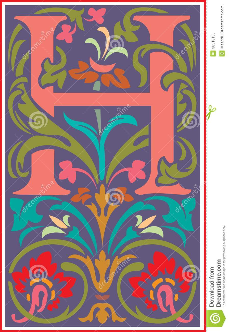 Flowers decorative letter h in color stock vector illustration of download comp altavistaventures Choice Image