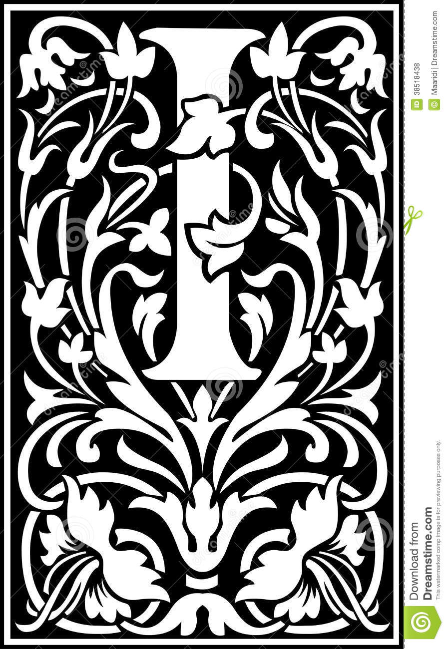 flowers decorative letter i balck and white