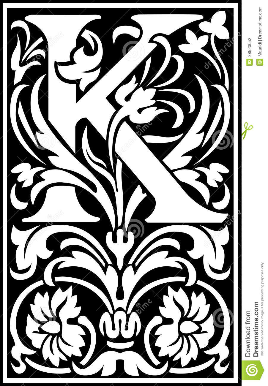 Flowers Decorative Letter K Balck And White Stock Vector