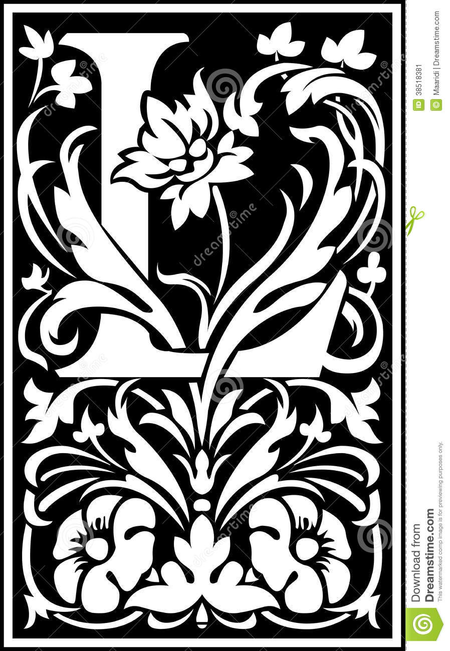 Flowers Decorative Letter L Balck And White Stock Vector