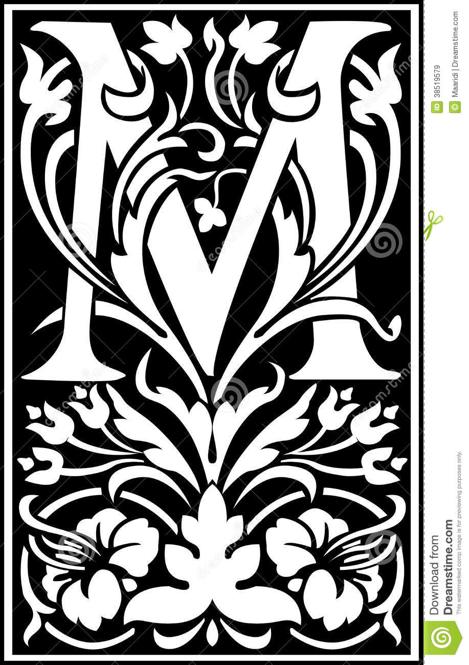 flowers decorative letter m balck and white stock vector