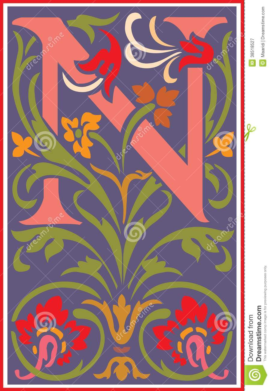 Flowers Decorative Letter N In Color Royalty Free Stock