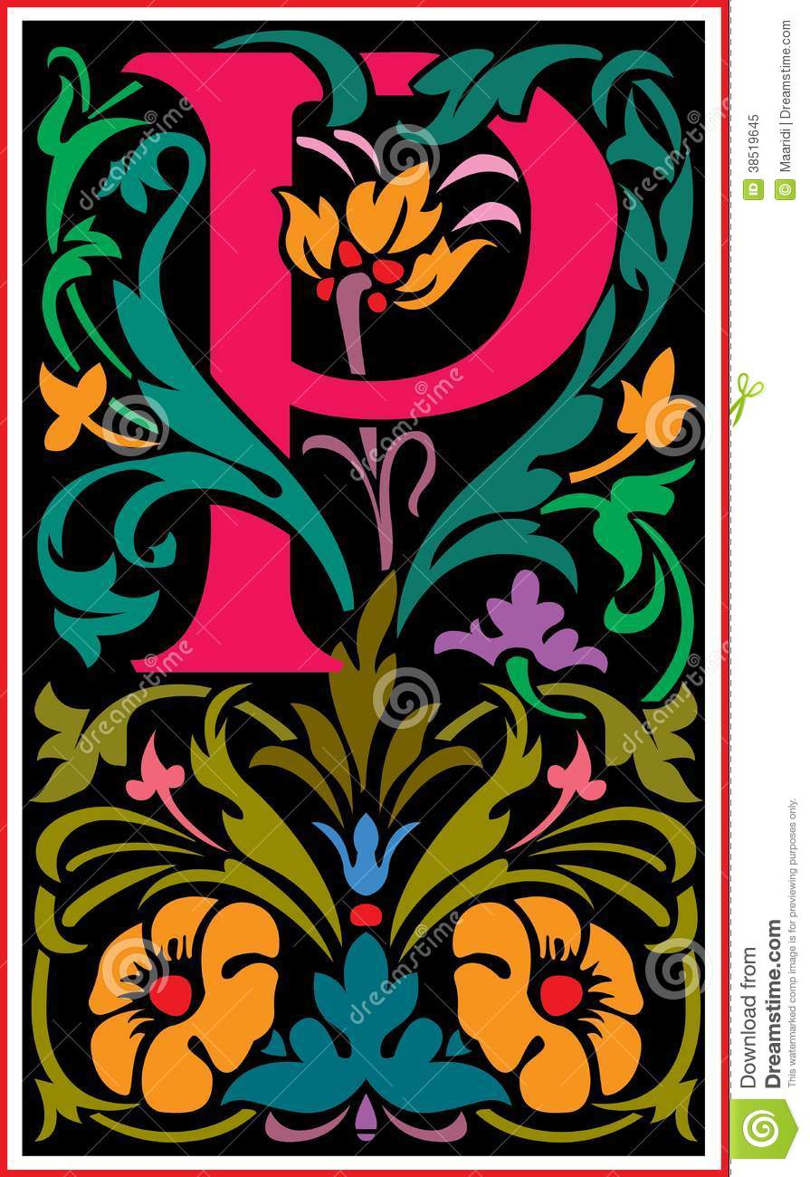 Flowers Decorative Letter P In Color Royalty Free Stock