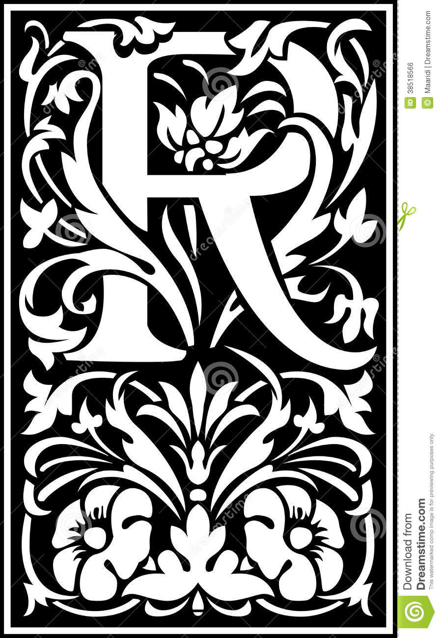 R Black Number Plate Letter: Flowers Decorative Letter R Balck And White Royalty Free