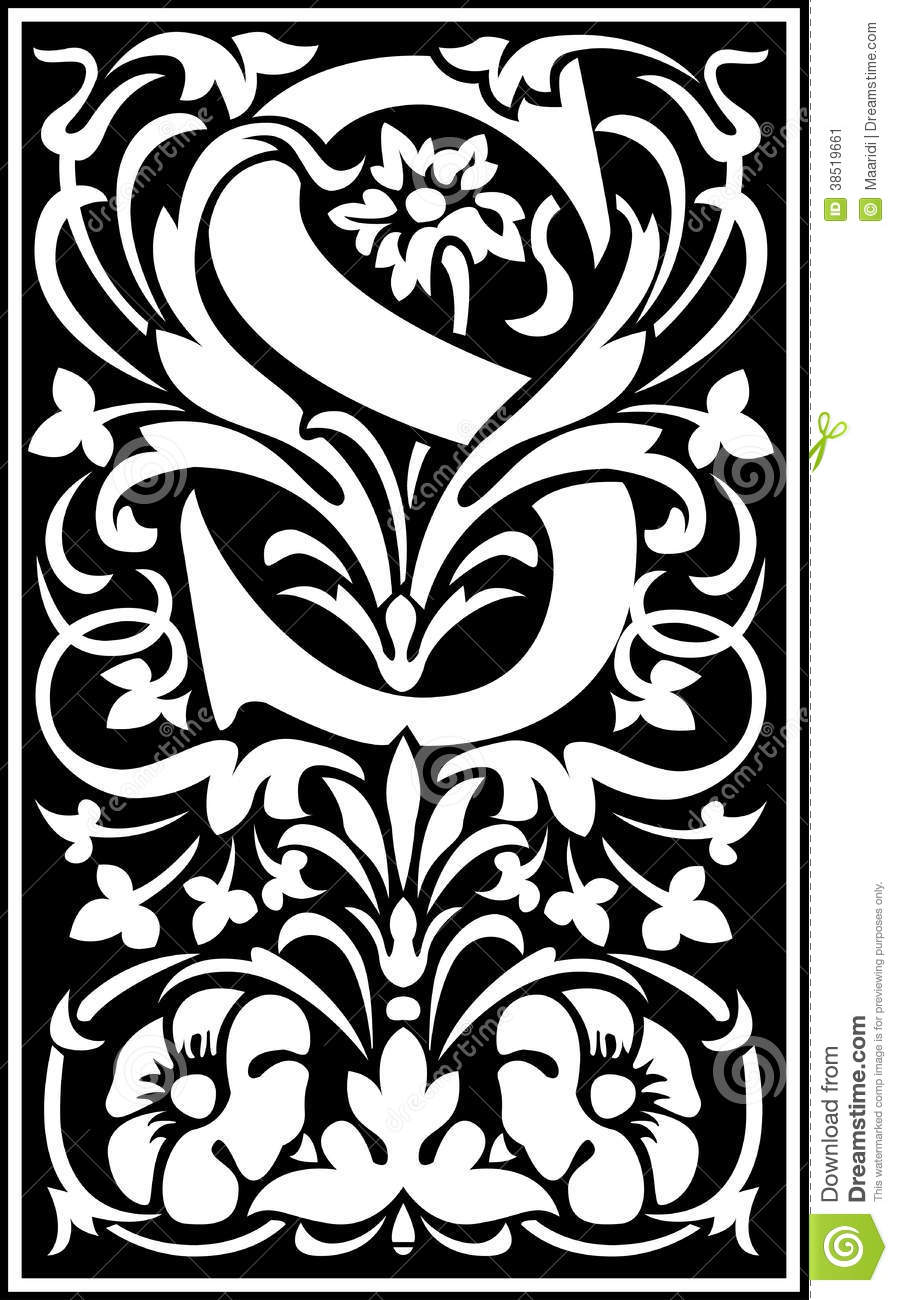 Flowers Decorative Letter S Balck And White Stock Vector