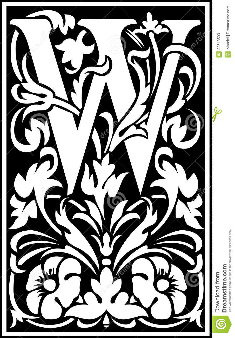 flowers decorative letter w balck and white