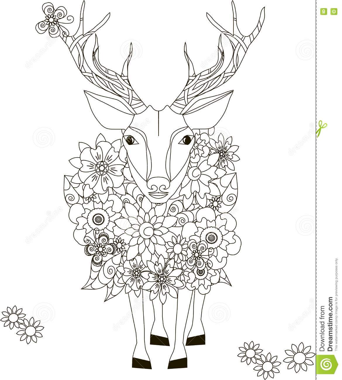 Flowers Deer, Coloring Page Anti-stress Stock Vector - Illustration ...
