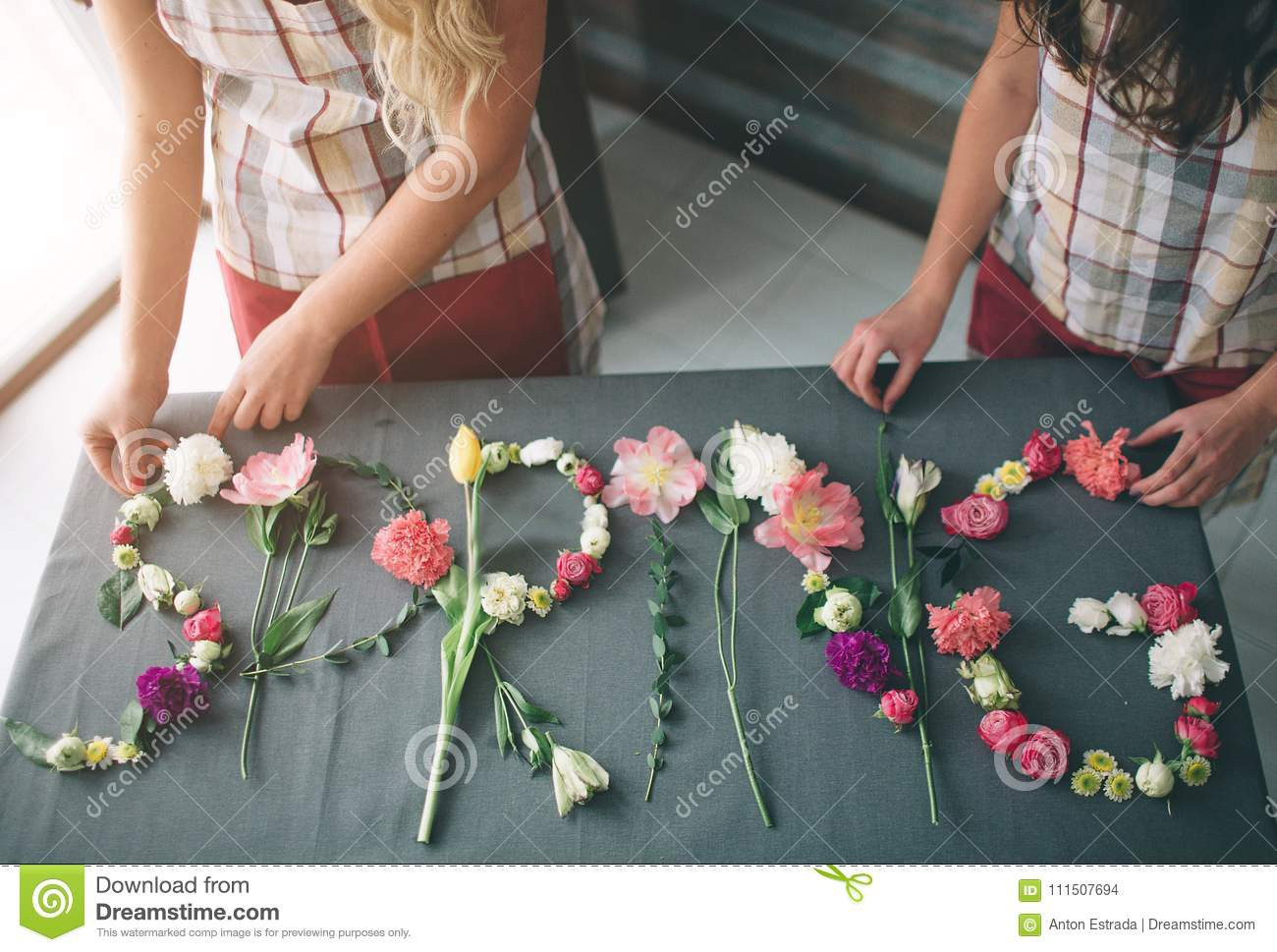 Flowers Delivery Top View Florists Creatin Word Spring Made Of