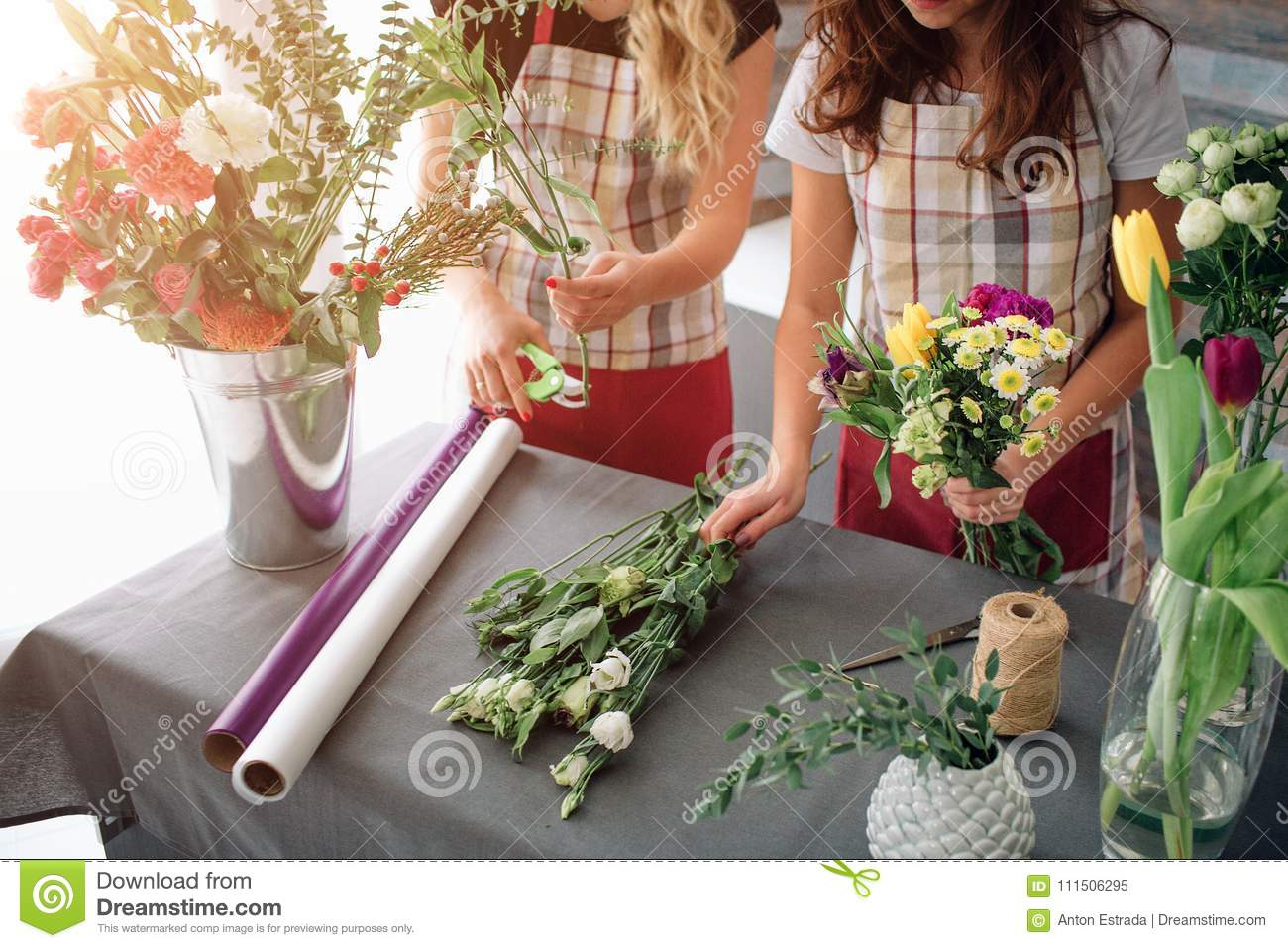 Flowers Delivery Top View Florists Creating Order Making Rose