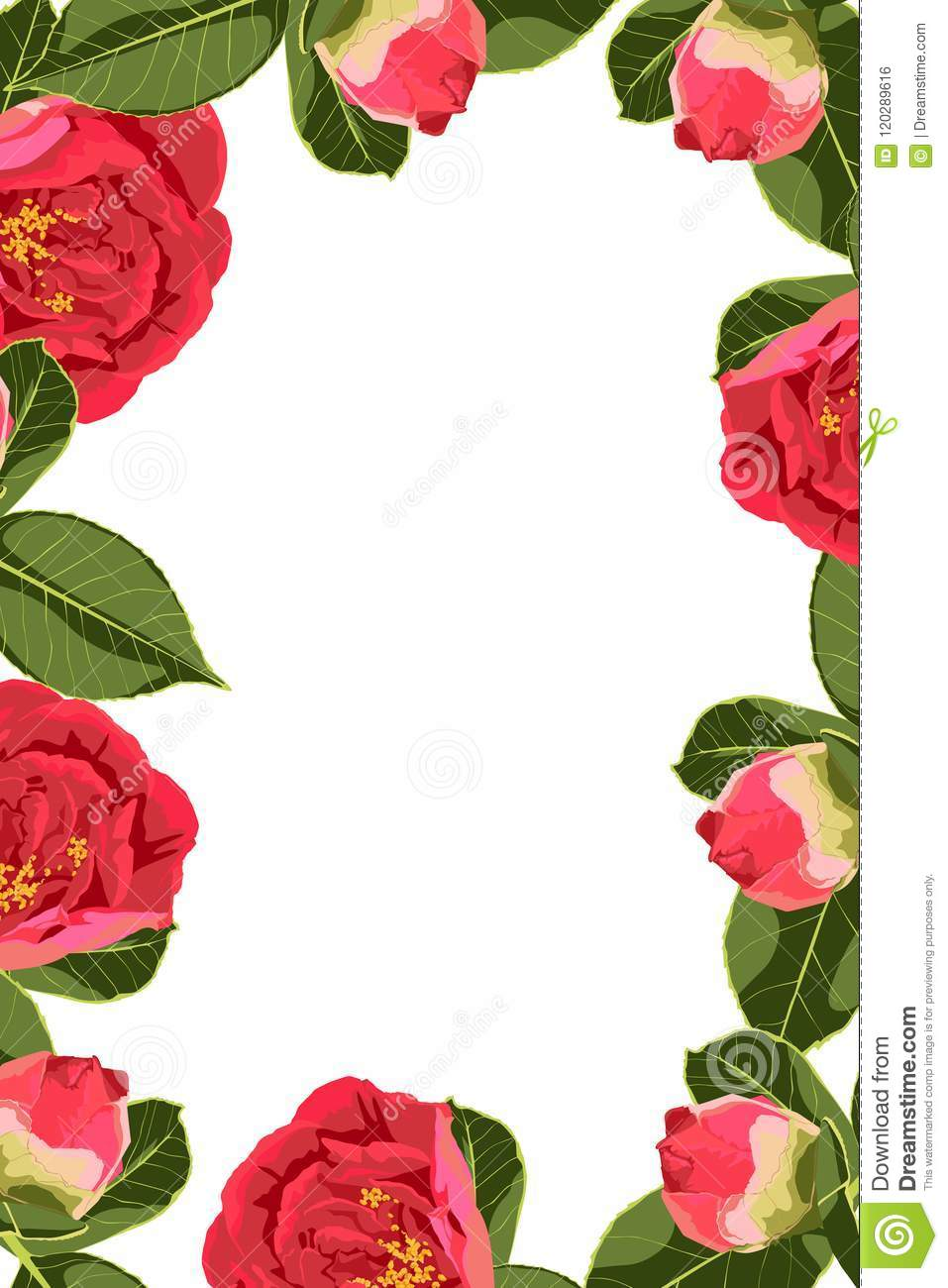 Flowers Design Border Frame Template With Green Leaves And Red