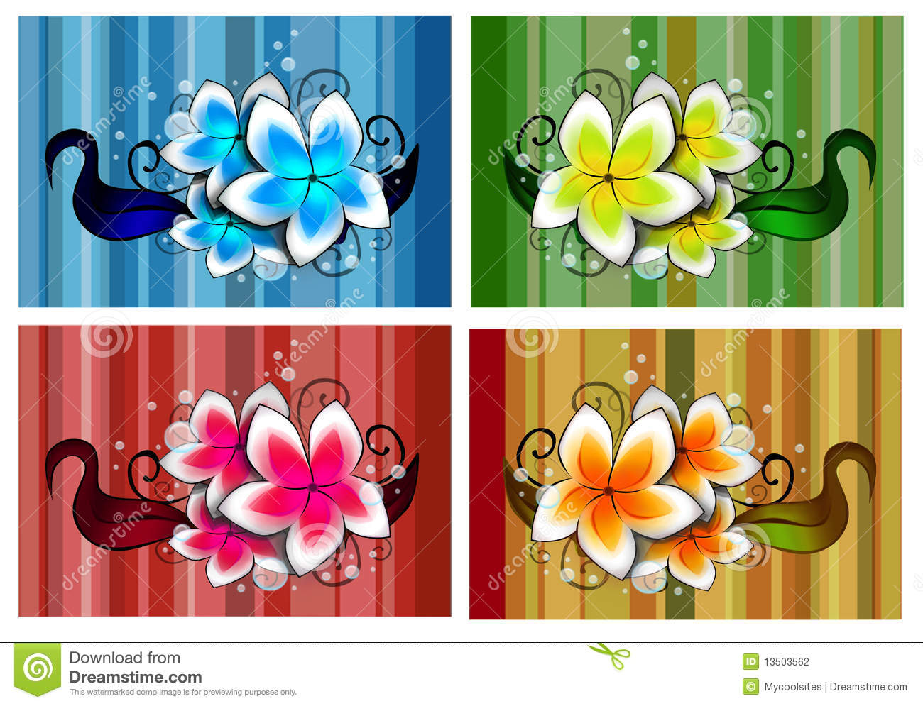 Flowers design in different colors stock illustration for What makes flowers different colors