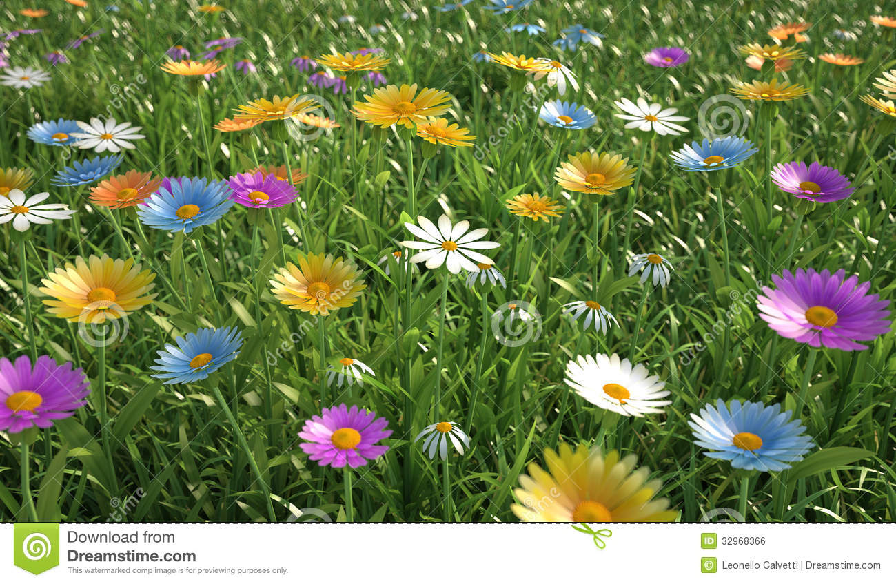 Flowers of different colors in a grass field royalty for What makes flowers different colors
