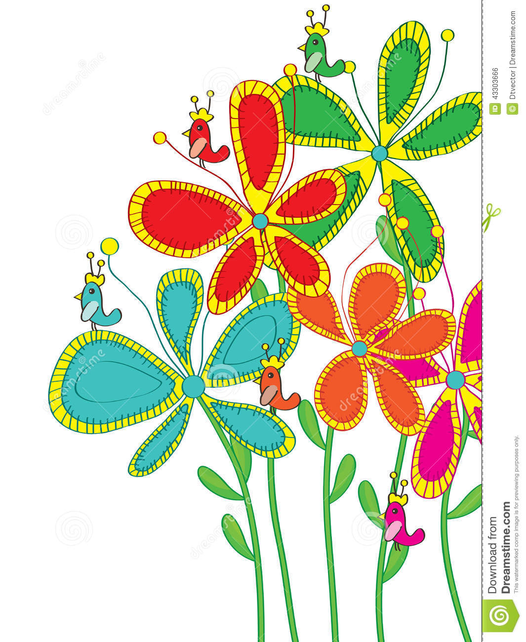 Flower Drawings With Color