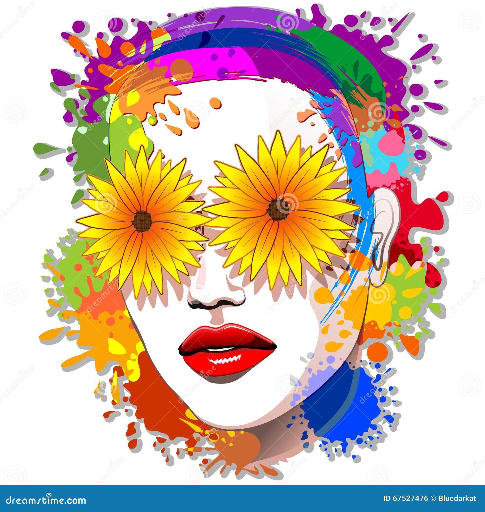 Flowers Eyes Summer Girl stock vector. Illustration of face