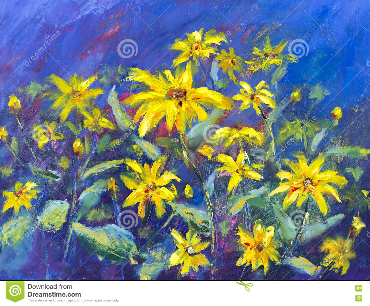 Flowers Field Oil Painting Yellow Flowers On Blue
