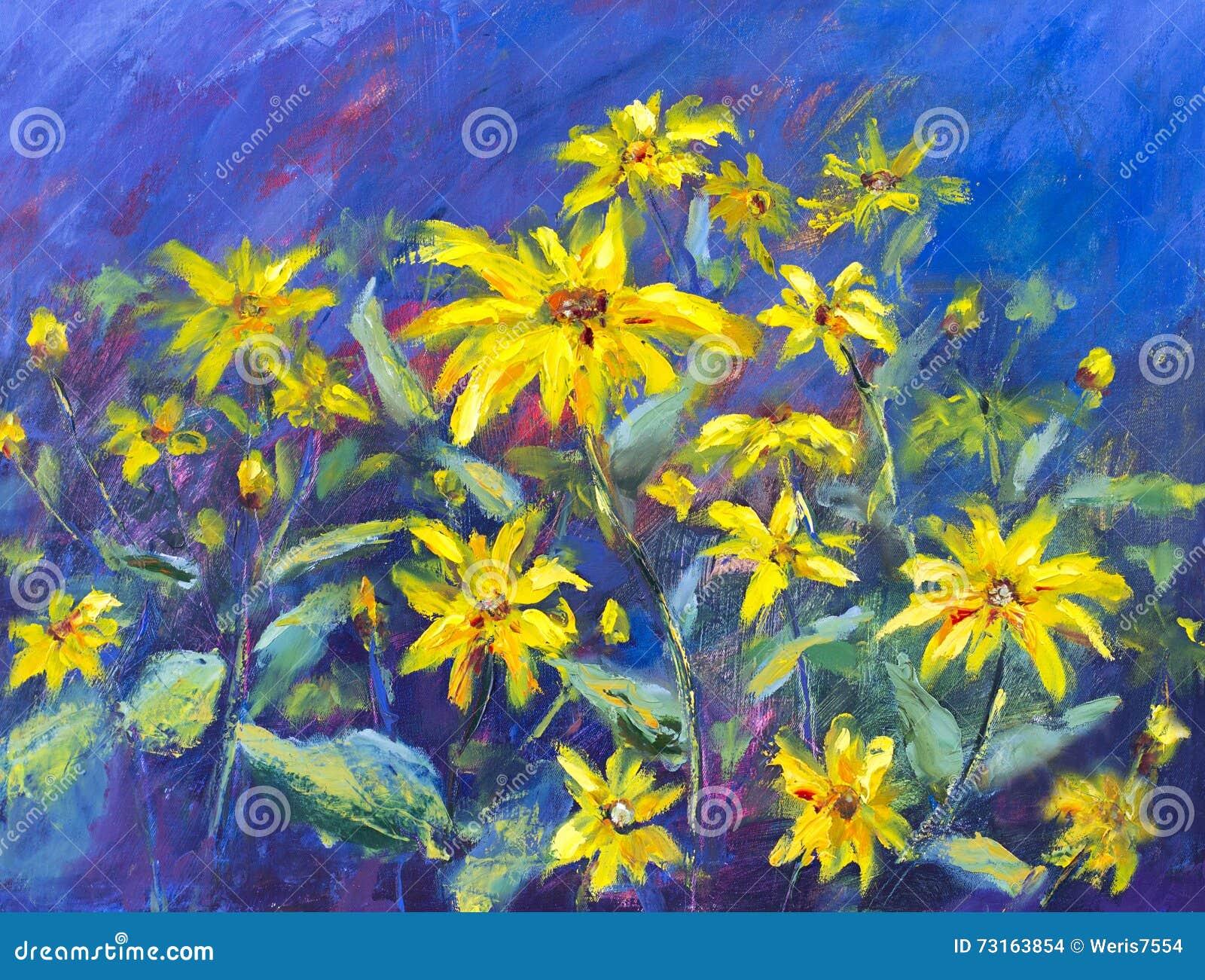 Flowers field oil painting yellow flowers on blue background stock download flowers field oil painting yellow flowers on blue background stock illustration illustration mightylinksfo