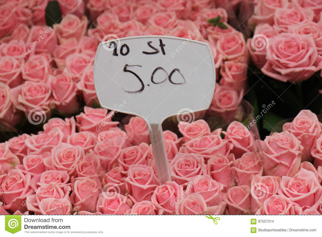 Flowers At A Flower Market Stock Photo Image Of White 97557314