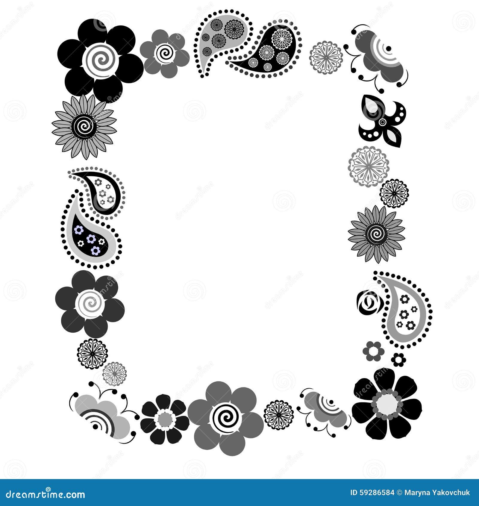 Flowers Frame Black Stock Vector Illustration Of Ethnic 59286584