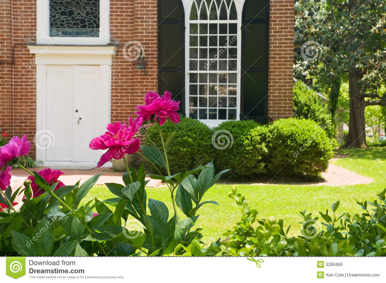 Flowers in front of church