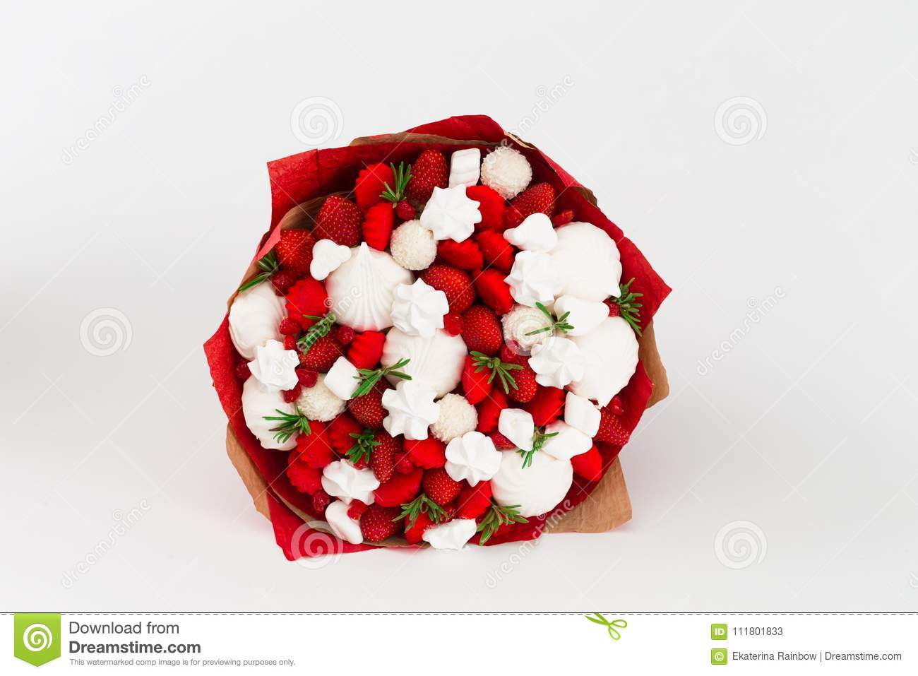Flowers Fruit Bouquet White Isolated Strawberry Marshmallows Stock Image Image Of Accessories Candies 111801833