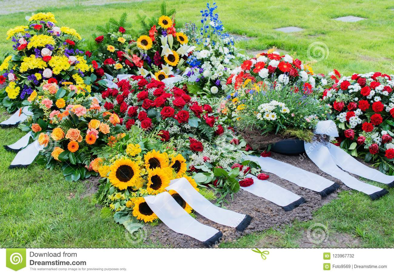 Flowers After A Funeral In An Old Cemetery Stock Photo Image Of