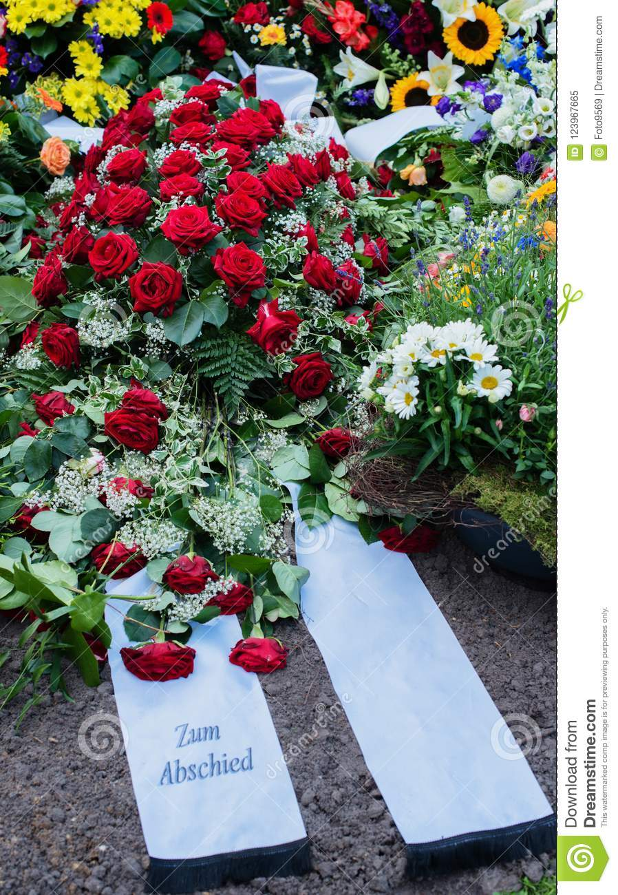 Flowers After A Funeral In An Old Cemetery Stock Image Image Of