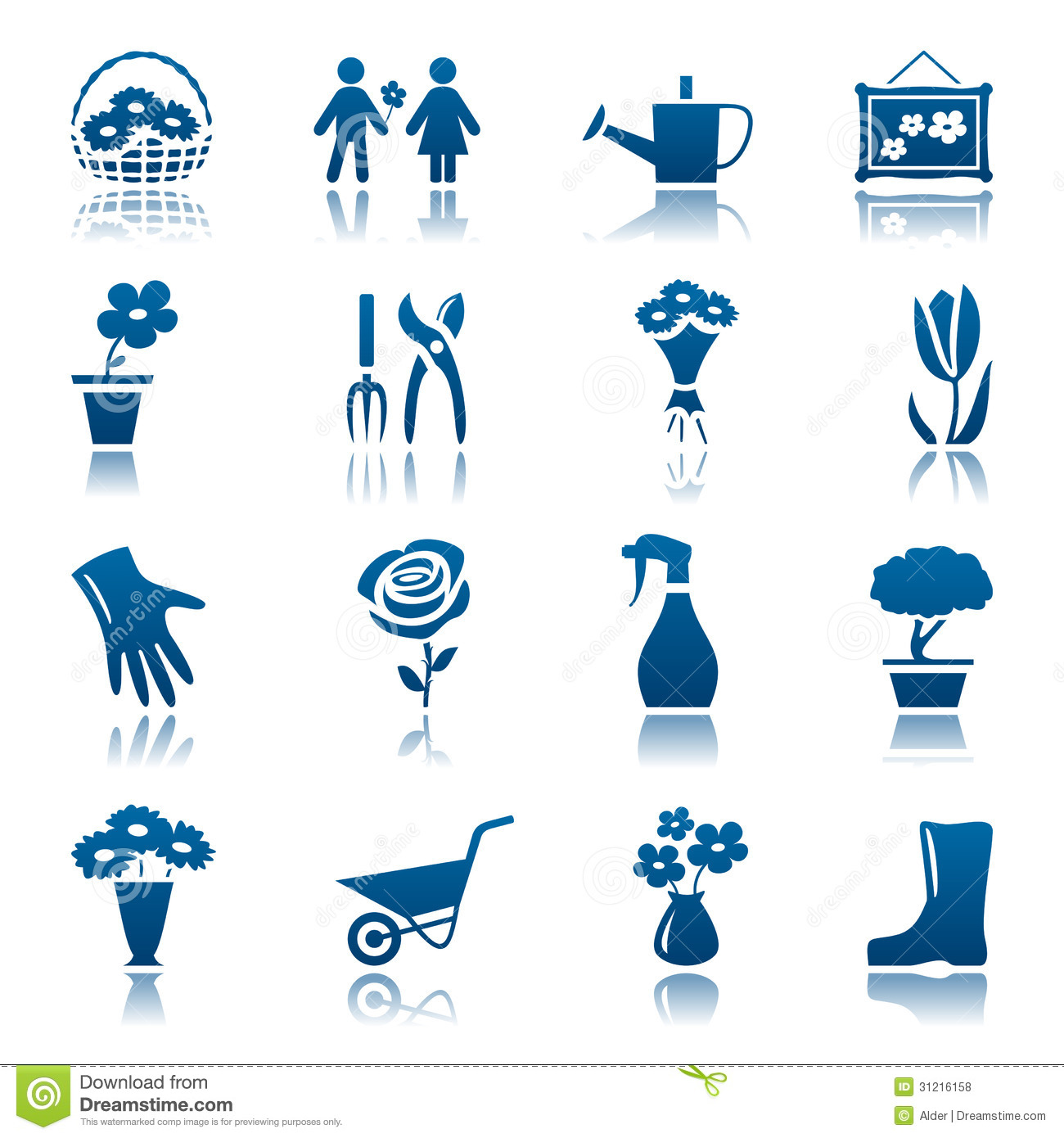 Real Flower Icons Flowers and gardening icon setReal Flower Icons