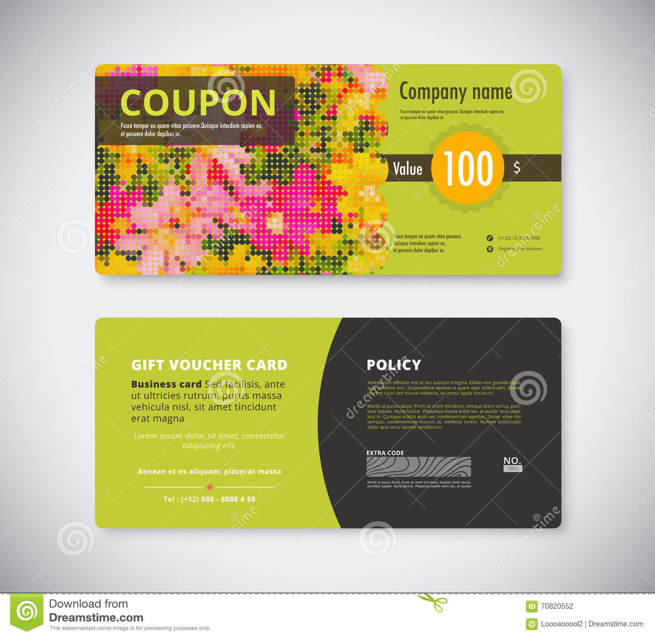 Flowers Gift Coupon Template Concept. Front And Back Card. Stock ...