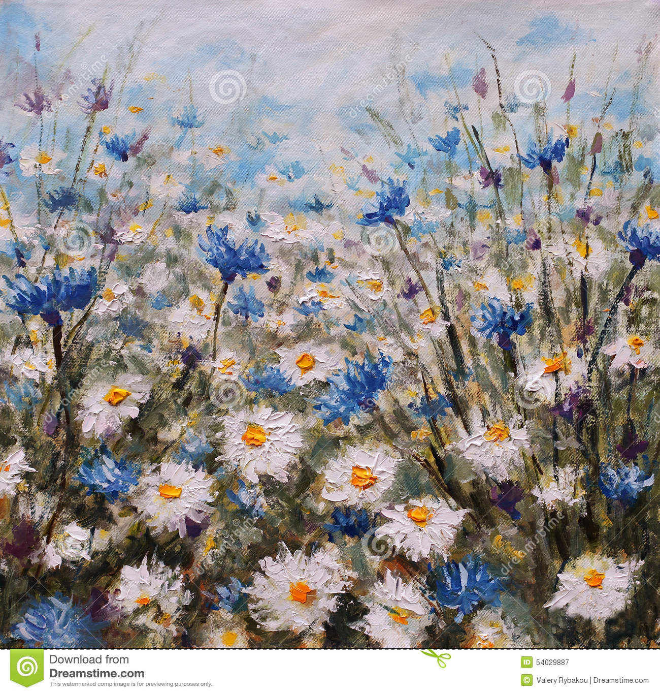 Flowers Glade Of Cornflowers And Daisies Summer Flowers