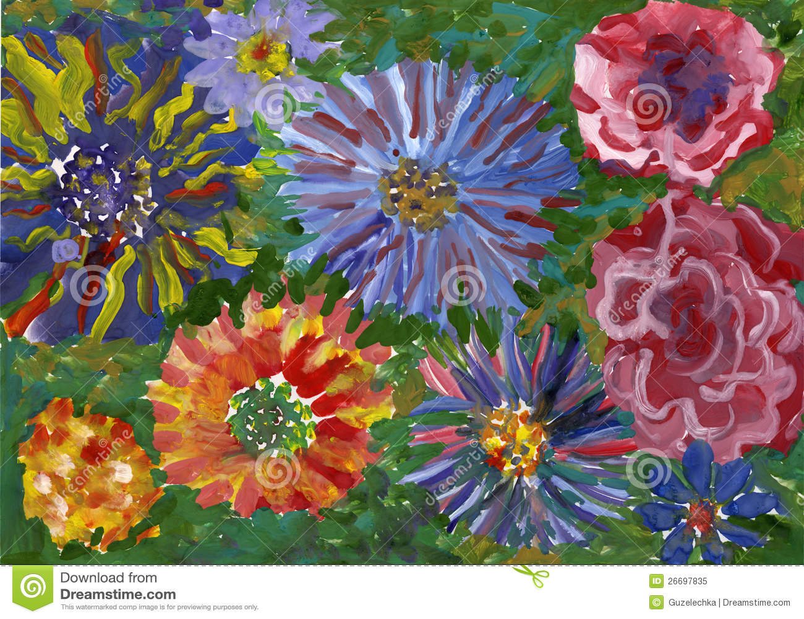 Flowers gouache painting