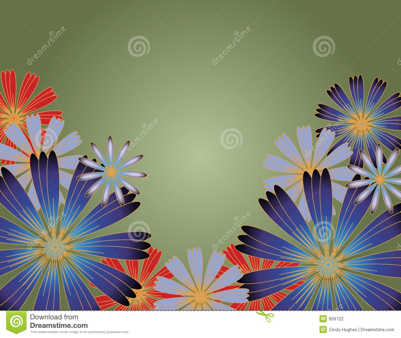 Flowers With Gradient Background Stock Photography Image