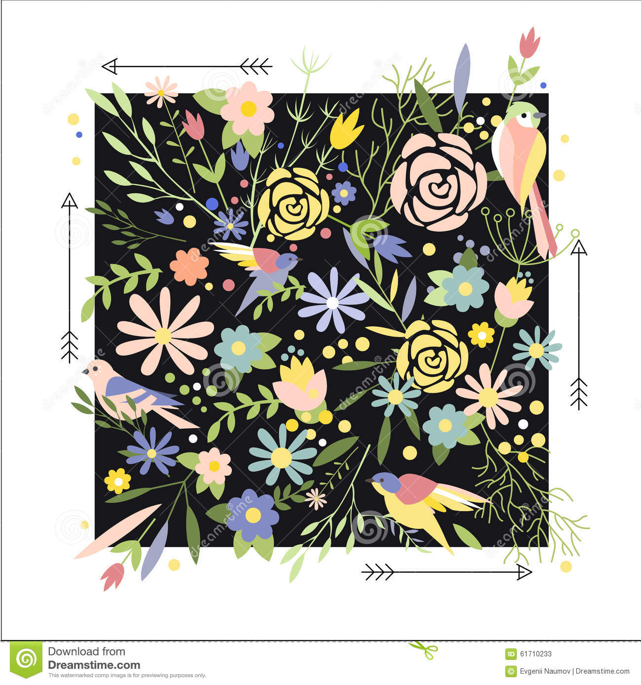 Flowers Graphic Design For T Shirt Fashion Stock Vector